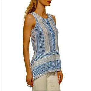 Veronica Beard silk blue & white sleeveless blouse